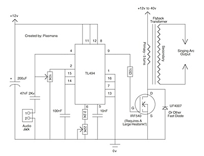 Plasma speaker schematic by Plasmana